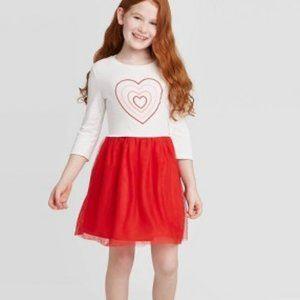 Girls' Long Sleeve Heart Dress - Cat & Jack